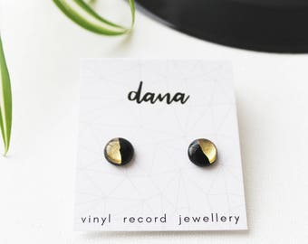 black and gold studs surgical steel posts gold dipped studs minimalist ear studs vinyl record studs simple stud earrings recycled jewelry