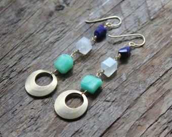 Lapis, Moonstone, Chrysoprase and Brass Stack Earrings