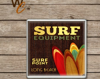 ON SALE Retro Surf Coaster,  Surfing Long Beach Handmade Design, Ceramic Tiles, Beer Coasters, Coffee Coaster, Beach, Surf Waves, Made to Or