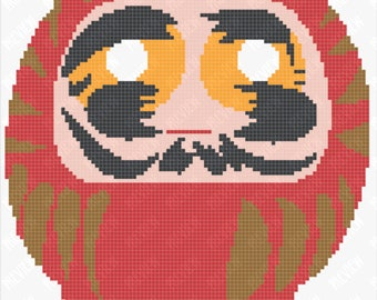 Daruma Doll - Japanese Tradition - Bodhidharma - Buddhism - Setting Goals - Counted Cross Stitch PDF Pattern - Instant Download