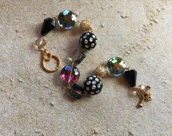 Black and Silver Bracelet, Glass Bracelet, Gift For Her, Beaded Jewelry, Beaded Bracelet