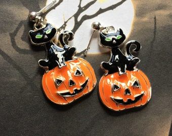 Halloween Jewelry, Halloween Earrings, Pumpkin Earrings, Halloween Gift Idea, Halloween Cat Earrings, Halloween Cat Earrings