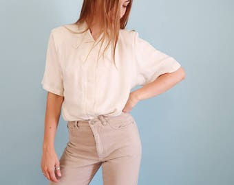 Soft and Slouchy White Linen Short Sleeve Blouse