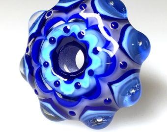 Handmade Glass Bead/Mandala Style Glass Bead/Blue and White Handmade Mandala Glass Bead