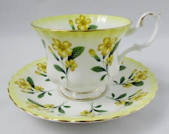 Royal Albert Yellow Tea Cup and Saucer with Yellow Flowers, Vintage Bone China, Pattern 4468
