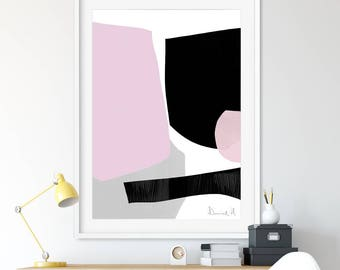 Printable Abstract Art, Pink and Grey Decor, instant download art, Large Abstract Art, 24x36 print, 16x20 Art, A1 Print, living room art
