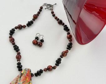 Brown Necklace- Jewellery-Semi Precious-Gemstone-Necklace & Earrings-Handmade-Beauje-Designer-Jewelry-Dichroic