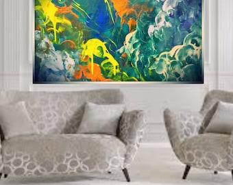 Large canvas, original abstract, acrylic Art, blue painting, abstract modern, wall art, modern art, original canvas art, fine art, giclee