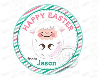 """Custom Easter Printable 2.5"""" Tags-Happy Easter -cute sheep egg-D.I.Y Tags- Personalized Stickers (You Print) 2.5"""" tags-Digital file"""