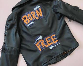 Black faux leather handmade Born Free biker jacket    Custom Jacket   Alternative Bride   Fringing