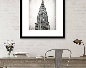 New York Photography, Chrysler Building, Black and White, Architecture, Wall Art, Matted Print, Contemporary, NYC, Urban Art, Neutral Decor