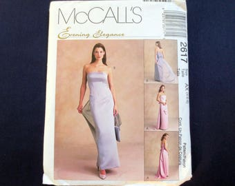 Strapless Gown, Dress with Detachable Train & Bag Uncut Pattern, McCalls Evening Elegance 2617, Size 4, 6, 8