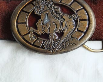 Vintage brass buckle; brass belt buckle; horse belt buckle; vintage 70s horse buckle; brass and enamel buckle; mens buckle vintage accessory