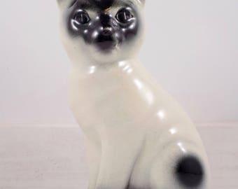 Vintage Siamese Cat Figurine,Black & White,mid century modern,Ceramic,Asian,Kitty,Cat,Cat Figurine,Collectible,Porcelain Figure,Feline