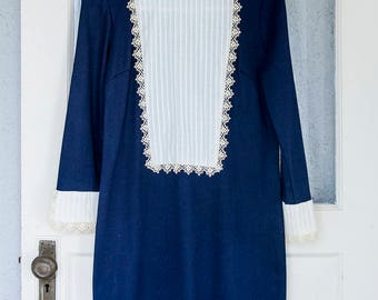 """Vintage 60s Lace and Navy Blue """"Sears Fashions"""" Dress Small"""