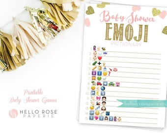 Baby Shower Emoji Pictionary . Pink and Gold Emoji Baby Shower Game . Printable Instant Download . Pink Gold Baby Shower Girl Games