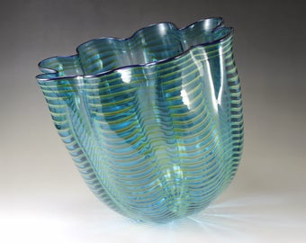 Dale Chihuly (b. 1941)  Blown Glass Seaform Vase Persian Basket in Teal , 1997 Signed  Chihuly PP98