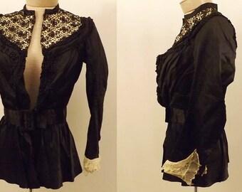 Antique 1880s Original Victorian Black Satin Lace Blouse Size XS