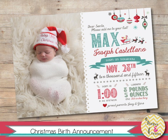 Christmas Birth Announcement Newborn Christmas Card Template – Holiday Birth Announcements