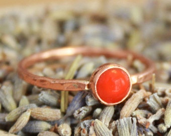 Copper Stacking Ring with Rose Cut Carnelian - Autumn Colors Copper Ring - Rustic Elegance Gem Ring - Boho Stack Ring - Copper Jewelry
