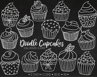 Chalkboard Cupcake Clipart. Hand Drawn White Cupcake Outlines. Chalk Cupcake Illustrations. White Valentines, Mothers Day Clip Art