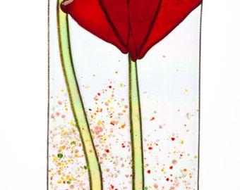 Handmade Red Poppy Flowers Spring Suncatcher Ornament on Rainbow Iridescent  Fused Glass