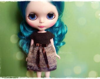 BLYTHE Dress, Pure Neemo, Licca, Takara, Pullip, Dal - Knitted Brown and Multicolor Brown Dress With Bow #14
