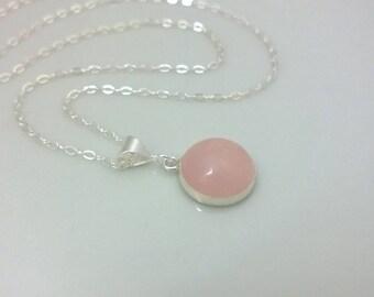 Rose quartz pendant necklace sterling silver; rose quartz necklace; sterling silver rose quartz necklace