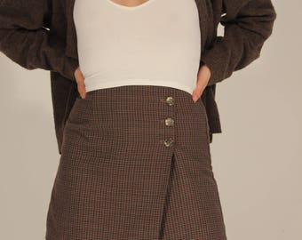 Plaid Skort Plaid Skirt Vintage Skort Button Skort