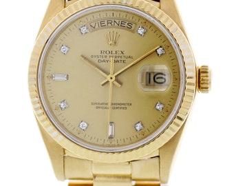 Rolex Day-Date President 18k Yellow Gold 18048 Diamond Dial