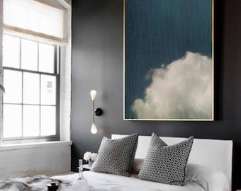 Minimalist Abstract Painting, Blue Grey Cloud Painting, Extra Large Art, Large Wall Art, Aqua Blue Abstract, Abstract Aqua, Abstract Print