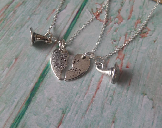Best witches gift, witches necklace, friend necklaces, hearts friends, best friends gift, fan gift, halloween necklace, novelty necklace, UK