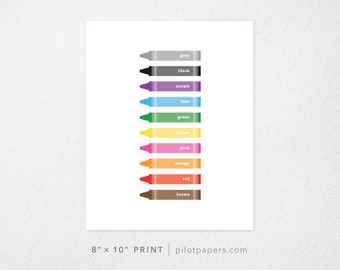 8x10 print - children's room nursery art - learn your colors crayons