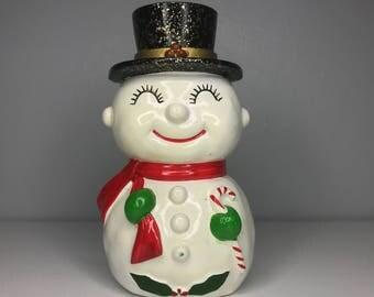 vintage Christmas snowman bank