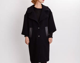 Black wool coat / Oversized winter woman coat / Knee length black coat / Pure wool coat / Cocoon style winter coat / Fasada 17165