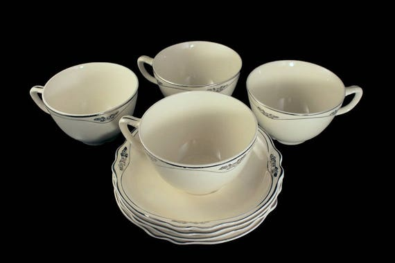 Cups and Saucers, Homer Laughlin, Silver Rose-Patrician, Platinum Florals and Trim, Virginia Rose Shape, Set of 4, Fine China