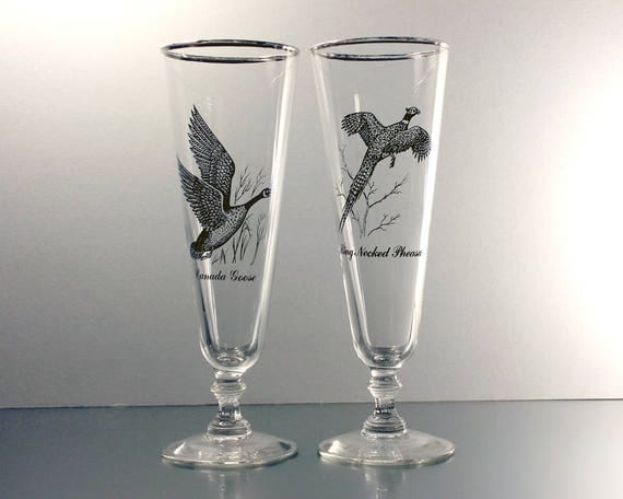 Pilsner Glasses, Sportsman, Federal Glass, Set of 2, Ring Neck Pheasant, Canada Goose, Beer Glasses, Clear Glass