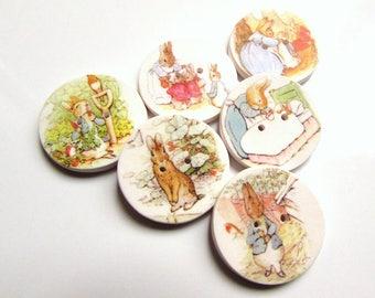 """Peter Rabbit buttons - Beatrix Potter - 1"""" buttons - Kid's Buttons - Cute Buttons - Storybook Buttons - Rabbit Buttons - Focal -  Handmade"""