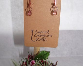Rose Gold Luster Glass Earrings