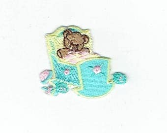 Teddy Bear - Baby Cradle - Iron on Applique - Embroidered Patch - 632745-A
