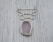 Bezel Set Lavender Lake Erie Beach Glass Mermaid Scales Necklace in Sterling Silver