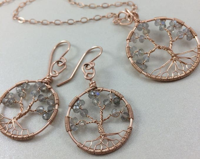 Rose Gold Labradorite Jewelry Set • Tree of Life Set • Rose Gold Jewelry • Labradorite Earrings • 15th Anniversary • Gift for Her • Libra