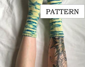 Basic Sock Knitting Pattern   Hand Knit   Cozy Sock Pattern   Women's Sock Pattern