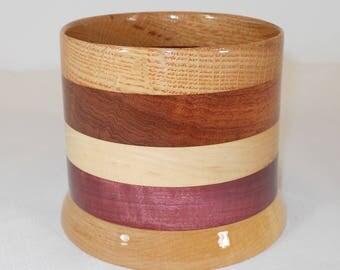 Wood Pencil Holder, Wooden Pen Cup, Office Desk Organizer (#160)