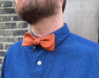 Mens burnt orange designer Bow Tie - Made to Order