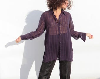 Vintage Sheer Purple Plaid Blouse