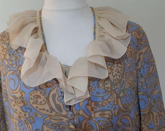 Vintage dress suit 50s 60s duck egg blue and taupe dress with a ruffle neckline and matching Jacket Size large - extra large