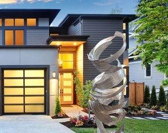 """Modern Outdoor Large Metal Sculpture Silver """"Whirlwind"""" by Dustin Miller"""