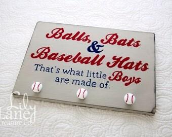 Balls, Bats & Baseball Hats Hat Rack, Vintage Baseball, Baseball Nursery, Boys Room Decor, Wall Decor, Rustic Baseball
