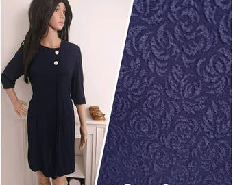 Vintage 1950s 60s Blue Navy Textured Shift Dress / UK 12 / EU 40 / US 8